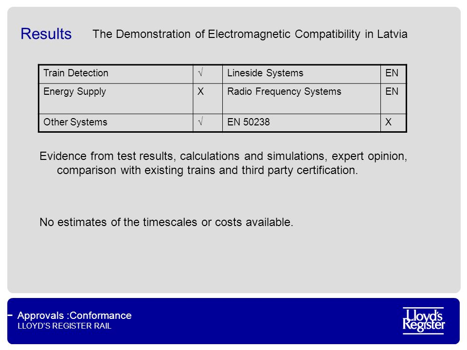 Approvals :Conformance LLOYDS REGISTER RAIL Results The Demonstration of Electromagnetic Compatibility in Latvia Evidence from test results, calculations and simulations, expert opinion, comparison with existing trains and third party certification.