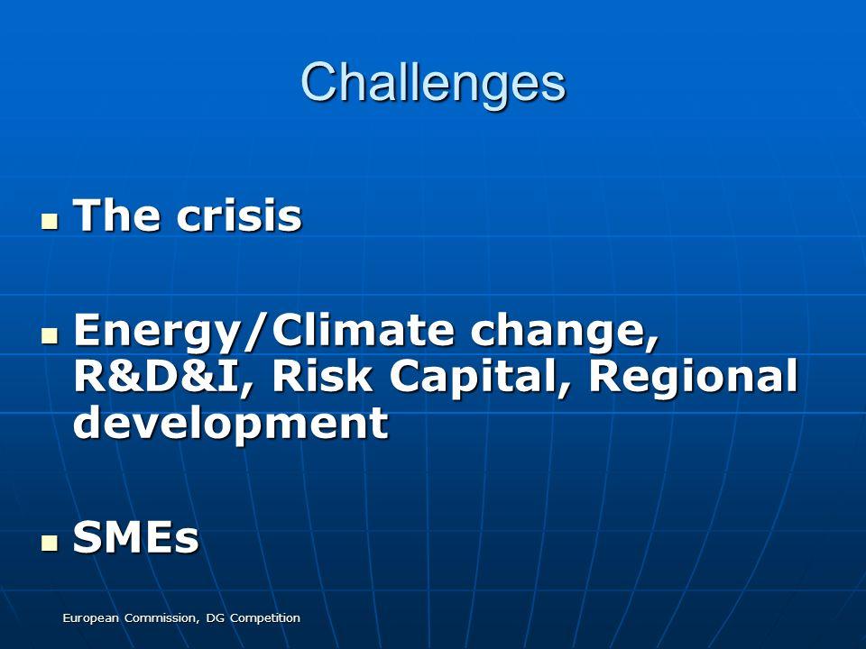 European Commission, DG Competition Challenges The crisis The crisis Energy/Climate change, R&D&I, Risk Capital, Regional development Energy/Climate change, R&D&I, Risk Capital, Regional development SMEs SMEs