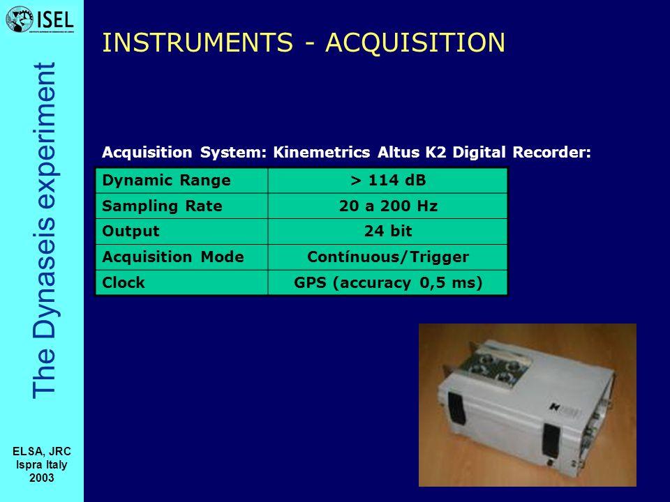 The Dynaseis experiment ELSA, JRC Ispra Italy 2003 INSTRUMENTS - ACQUISITION Dynamic Range> 114 dB Sampling Rate20 a 200 Hz Output24 bit Acquisition ModeContínuous/Trigger ClockGPS (accuracy 0,5 ms) Acquisition System: Kinemetrics Altus K2 Digital Recorder: