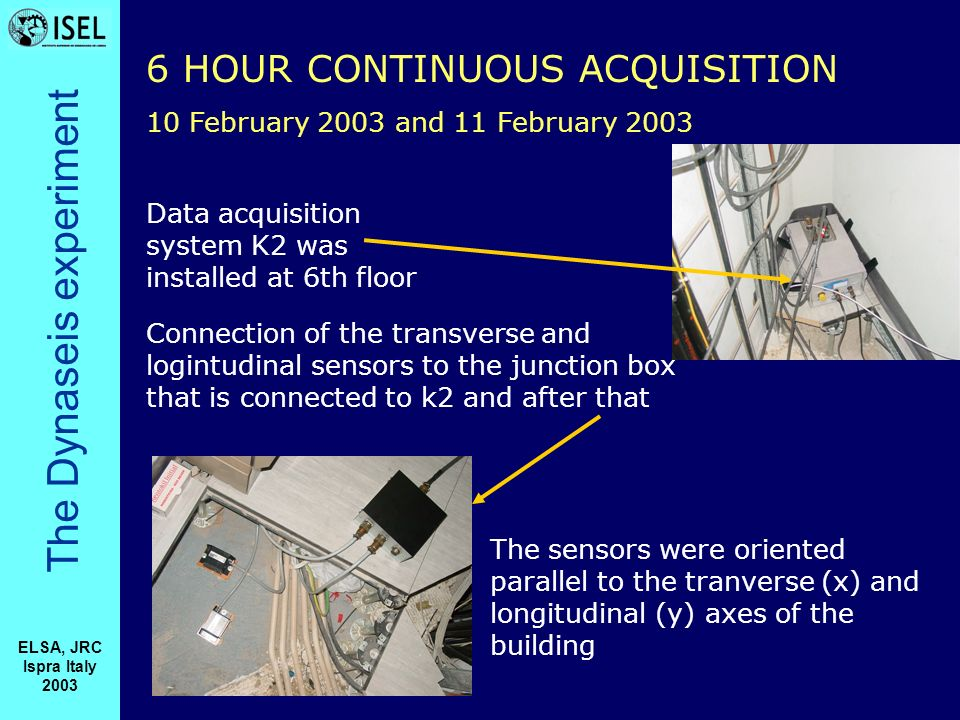 The Dynaseis experiment ELSA, JRC Ispra Italy 2003 Data acquisition system K2 was installed at 6th floor Connection of the transverse and logintudinal sensors to the junction box that is connected to k2 and after that The sensors were oriented parallel to the tranverse (x) and longitudinal (y) axes of the building 6 HOUR CONTINUOUS ACQUISITION 10 February 2003 and 11 February 2003