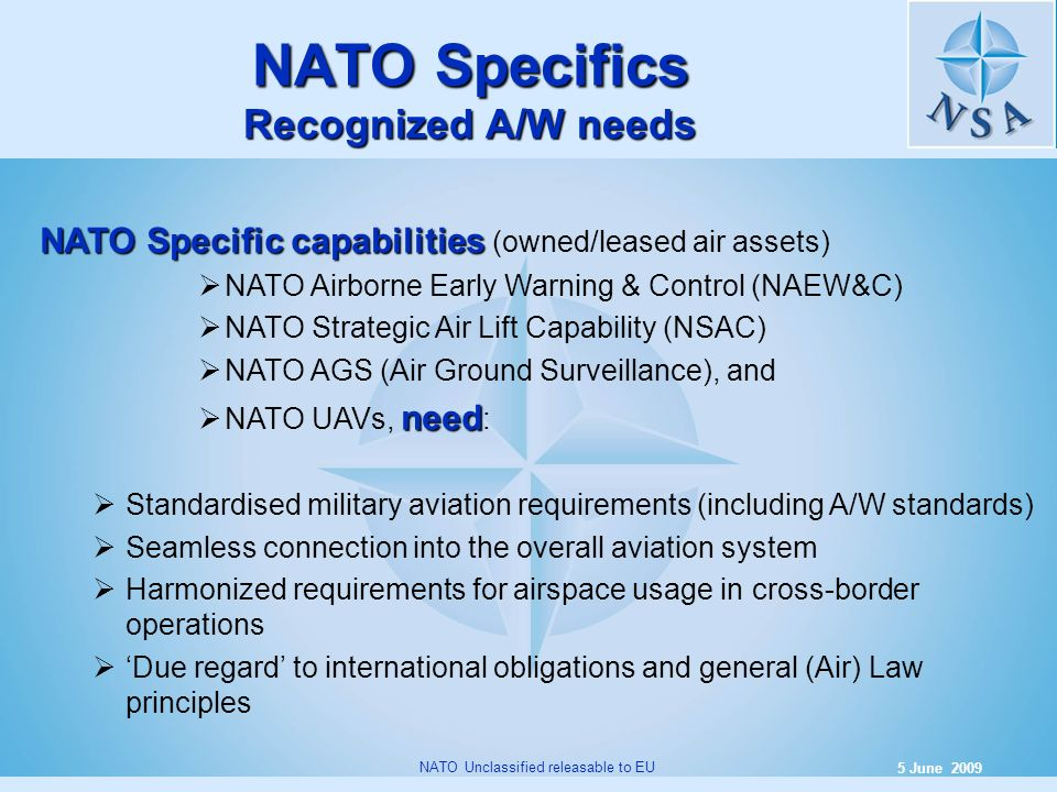 6 5 June 2009 NATO Unclassified releasable to EU NATO Specifics Recognized A/W needs NATO Specific capabilities NATO Specific capabilities (owned/leas