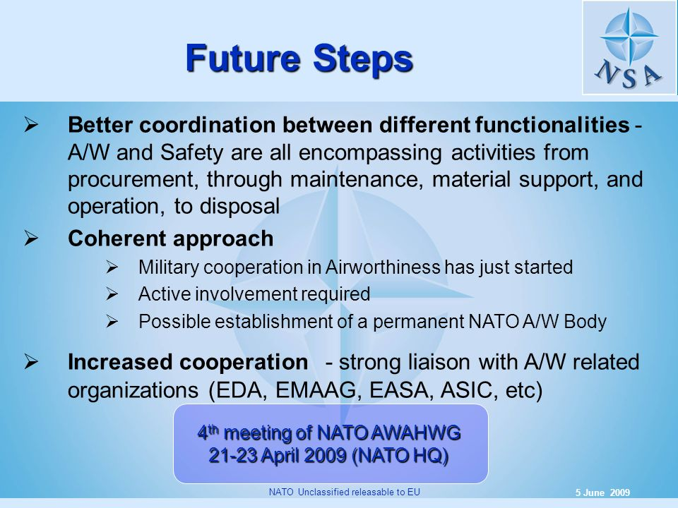 9 5 June 2009 NATO Unclassified releasable to EU Future Steps Better coordination between different functionalities - A/W and Safety are all encompass