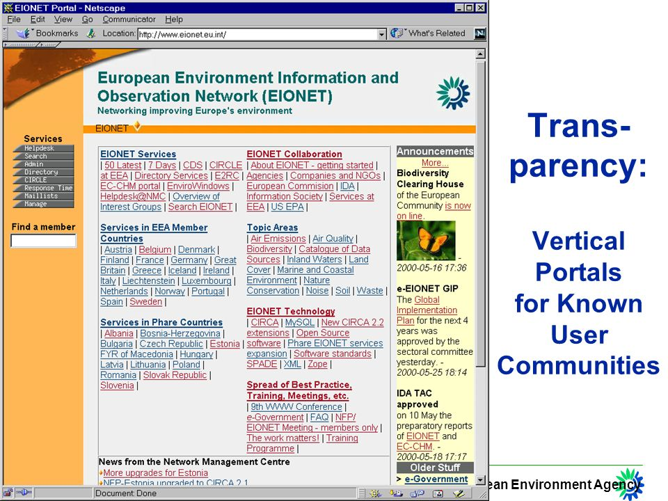 European Environment Agency Trans- parency: Vertical Portals for Known User Communities