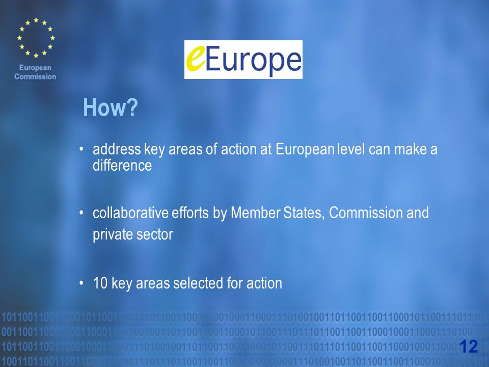address key areas of action at European level can make a difference collaborative efforts by Member States, Commission and private sector 10 key areas selected for action How.