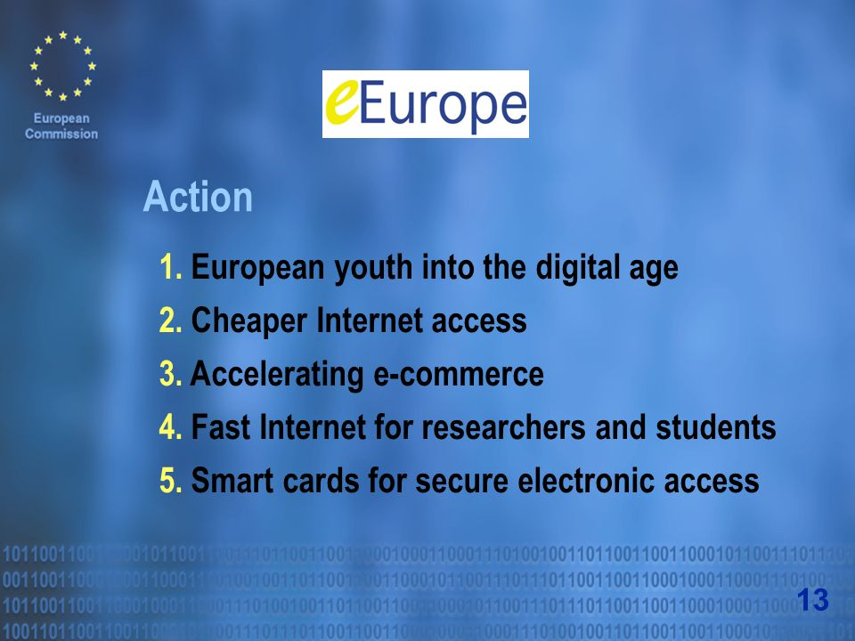 Action 1. European youth into the digital age 2. Cheaper Internet access 3.