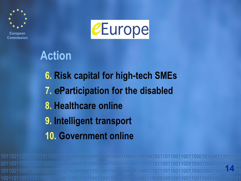 Action 6. Risk capital for high-tech SMEs 7. e Participation for the disabled 8.