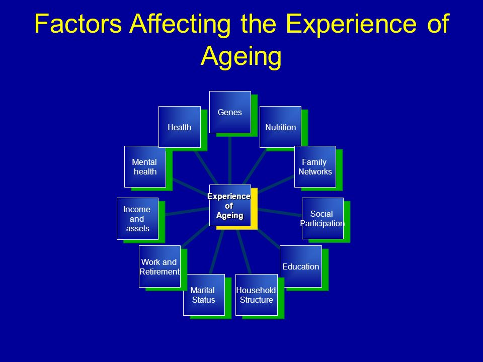 ExperienceofAgeing GenesNutrition Family Networks Social Participation Education Household Structure Marital Status Work and Retirement Income and assets Mental health Health Factors Affecting the Experience of Ageing