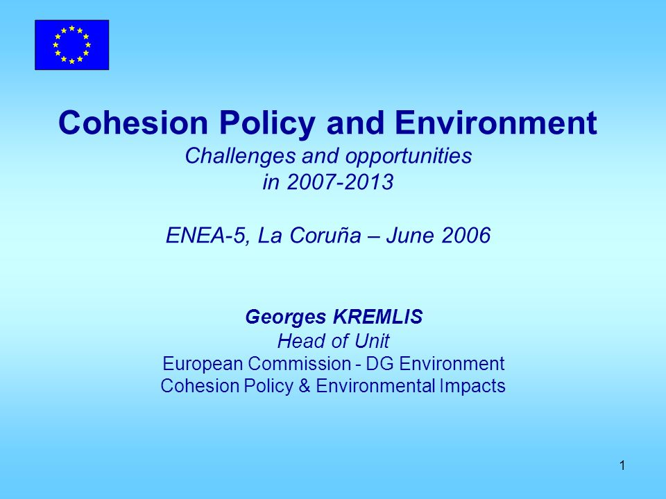 12 Cohesion Policy: weaknesses and threats from an environmental point of view…