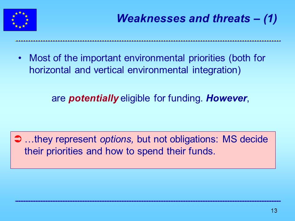 13 Weaknesses and threats – (1) Most of the important environmental priorities (both for horizontal and vertical environmental integration) are potentially eligible for funding.