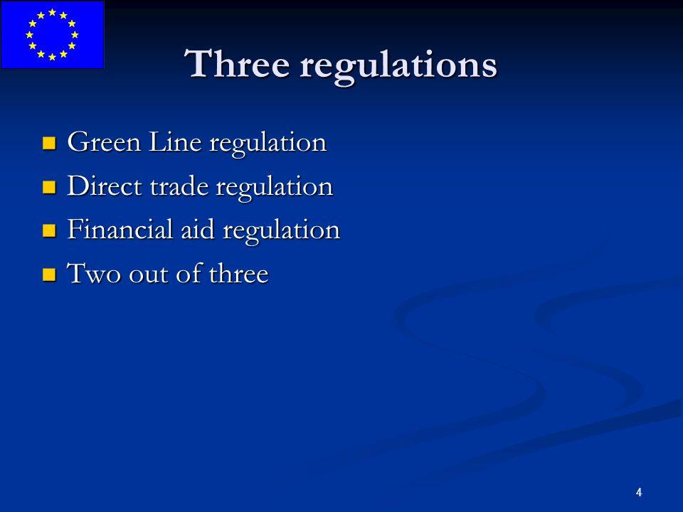 4 Three regulations Green Line regulation Green Line regulation Direct trade regulation Direct trade regulation Financial aid regulation Financial aid