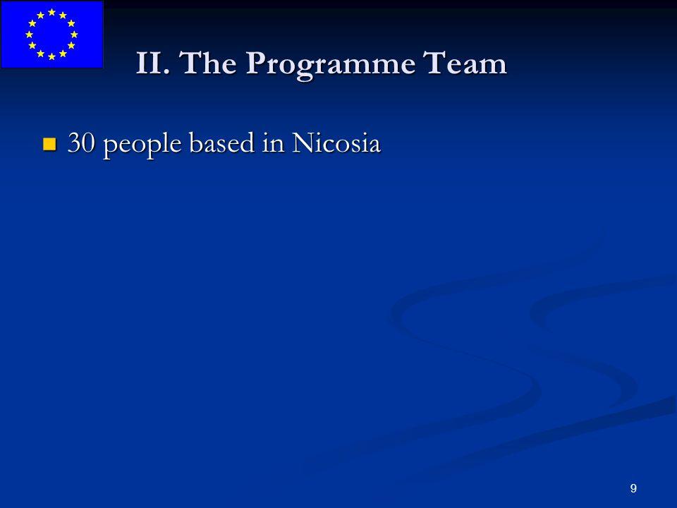 9 II. The Programme Team 30 people based in Nicosia 30 people based in Nicosia