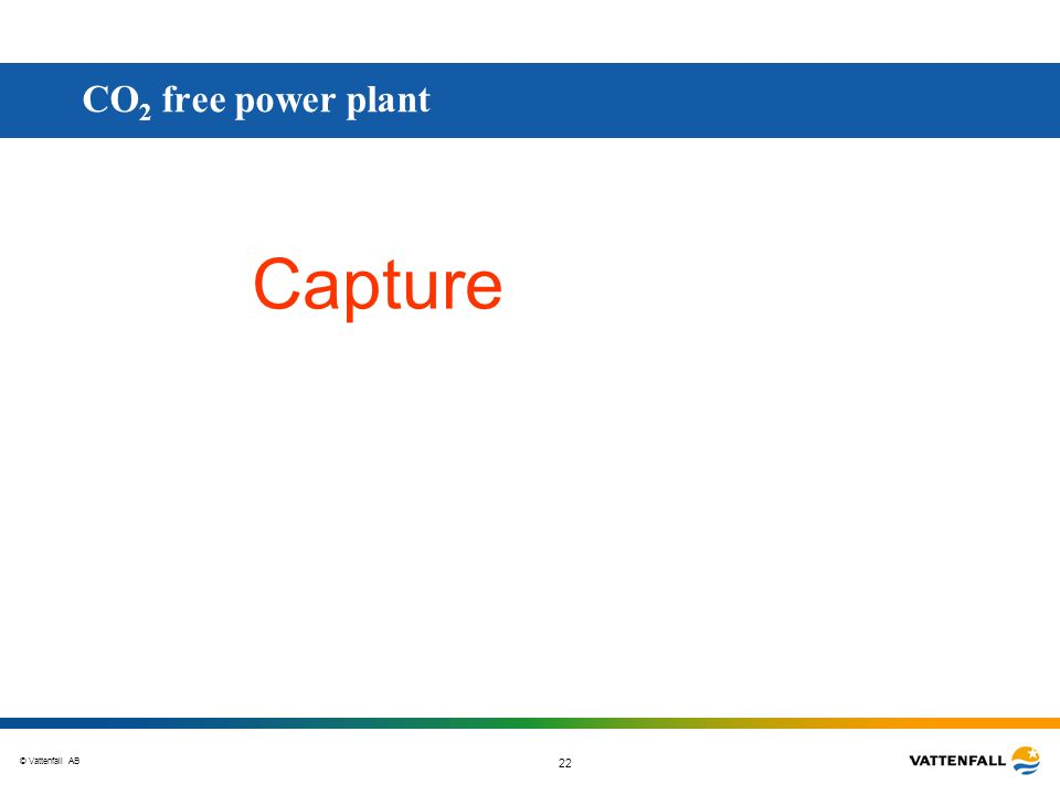 © Vattenfall AB 22 Capture CO 2 free power plant