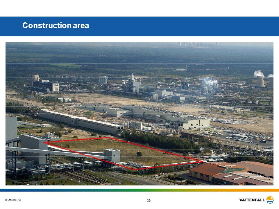 © Vattenfall AB 39 Construction area