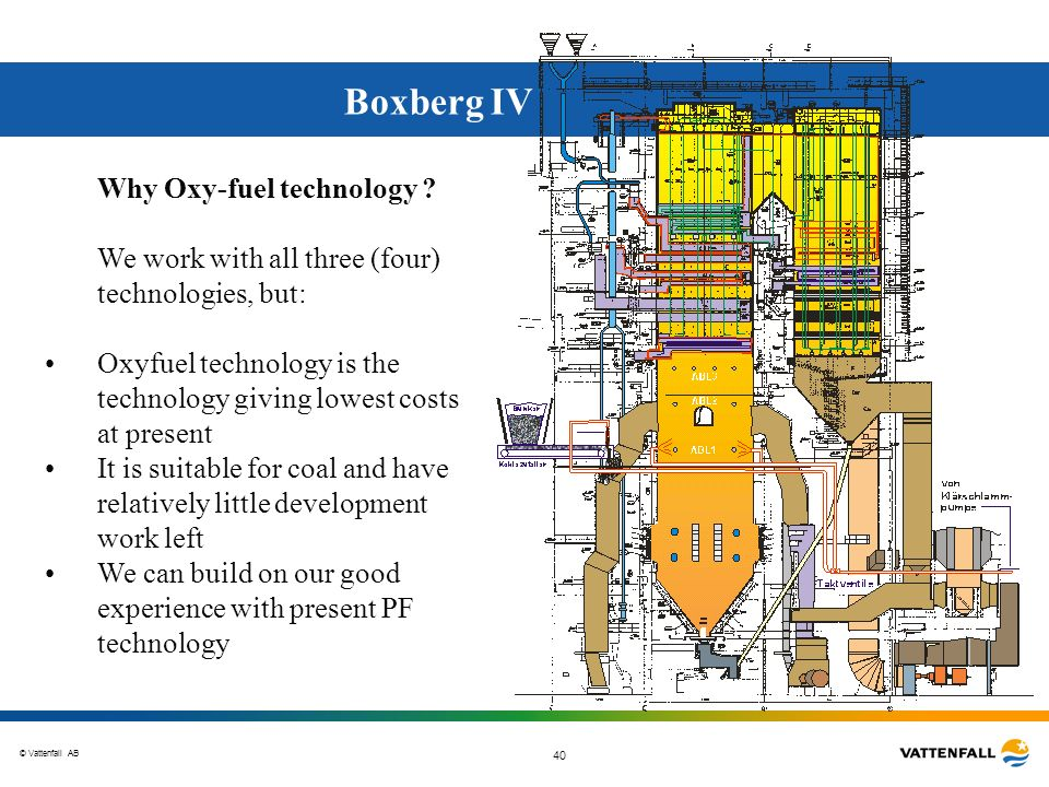 © Vattenfall AB 40 Boxberg IV Why Oxy-fuel technology ? We work with all three (four) technologies, but: Oxyfuel technology is the technology giving l