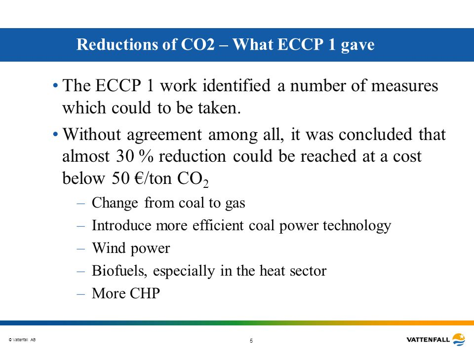 © Vattenfall AB 6 Cost and Potential of options to reduce CO 2 emissions until 2010 Derived from ECCP Energy Supply Preliminary report.
