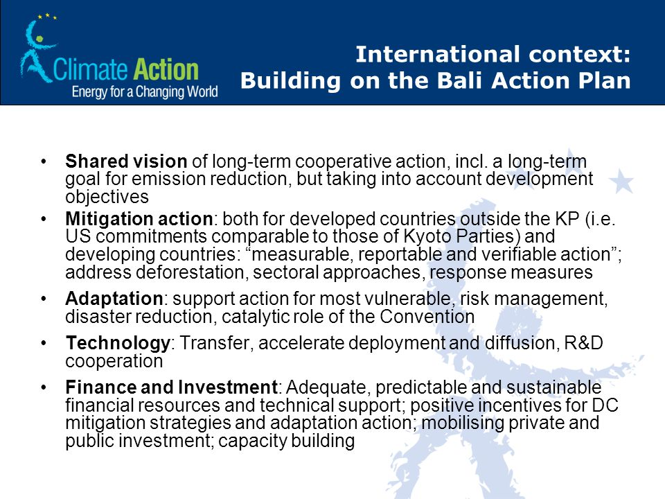 International context: Building on the Bali Action Plan Shared vision of long-term cooperative action, incl. a long-term goal for emission reduction,
