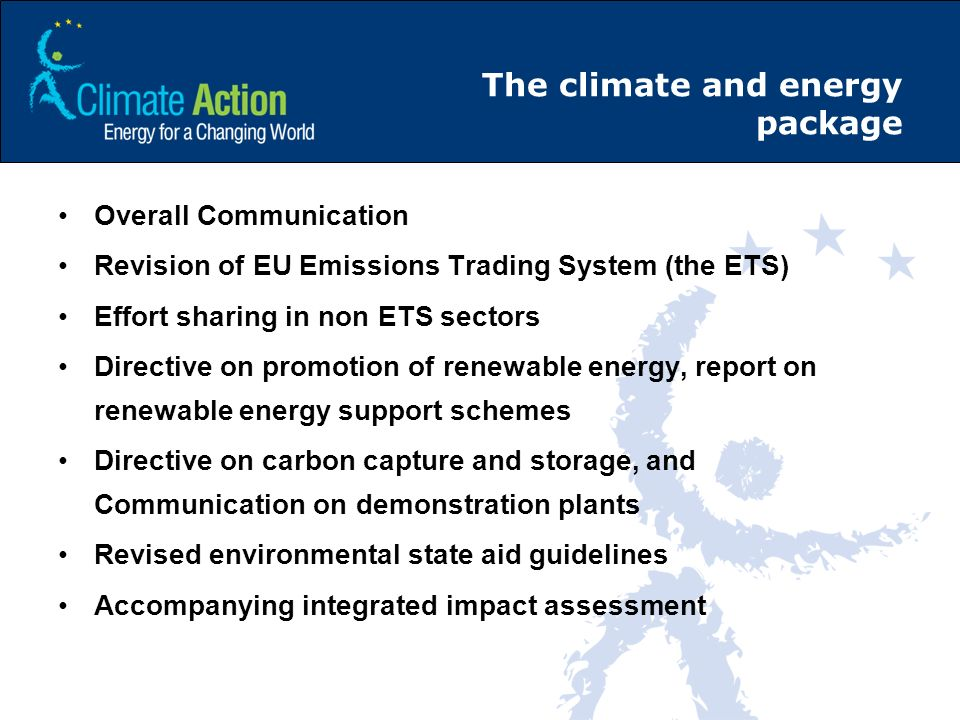 The climate and energy package Overall Communication Revision of EU Emissions Trading System (the ETS) Effort sharing in non ETS sectors Directive on