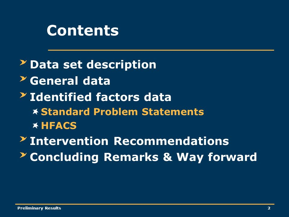 Preliminary Results2 Contents Data set description General data Identified factors data Standard Problem Statements HFACS Intervention Recommendations Concluding Remarks & Way forward