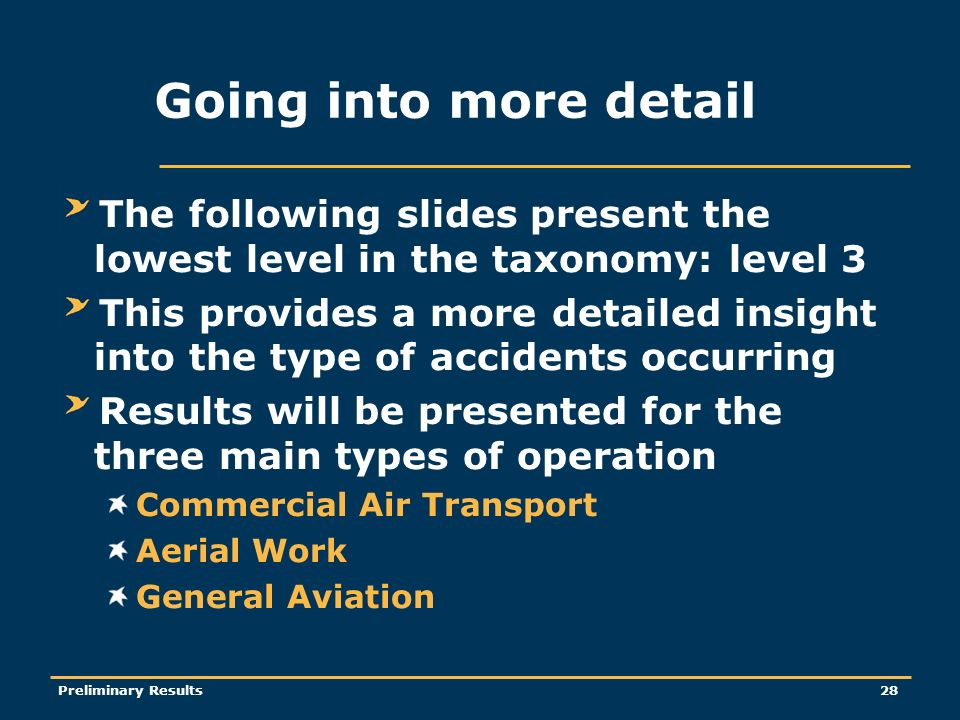 Preliminary Results28 Going into more detail The following slides present the lowest level in the taxonomy: level 3 This provides a more detailed insight into the type of accidents occurring Results will be presented for the three main types of operation Commercial Air Transport Aerial Work General Aviation