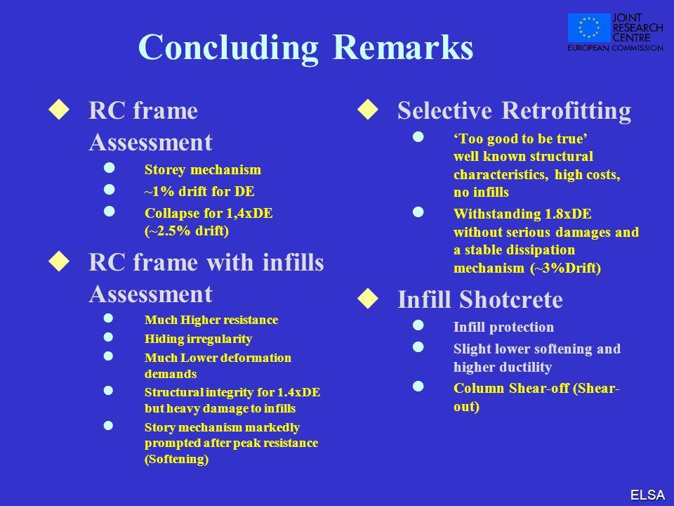 ELSA Concluding Remarks RC frame Assessment l Storey mechanism l ~1% drift for DE l Collapse for 1,4xDE (~2.5% drift) RC frame with infills Assessment