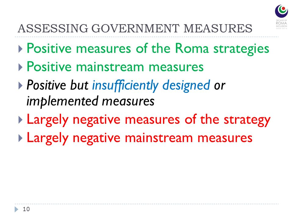 ASSESSING GOVERNMENT MEASURES 10 Positive measures of the Roma strategies Positive mainstream measures Positive but insufficiently designed or implemented measures Largely negative measures of the strategy Largely negative mainstream measures