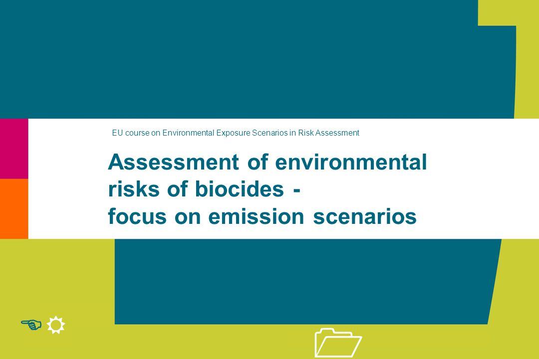 Environmental risks of biocides | Peter van der Zandt & Paul van der Poel r 21 Emission = Q * Fms * EF / Tem * 10 -3 (kg.d -1 ) Emission Scenario 1: Tonnage of Substance EFEmission factor (-) TemNumber of emission days (d.yr -1 ) Main Source Tonnage WaterAir SoilWaste Emissionfactors No.