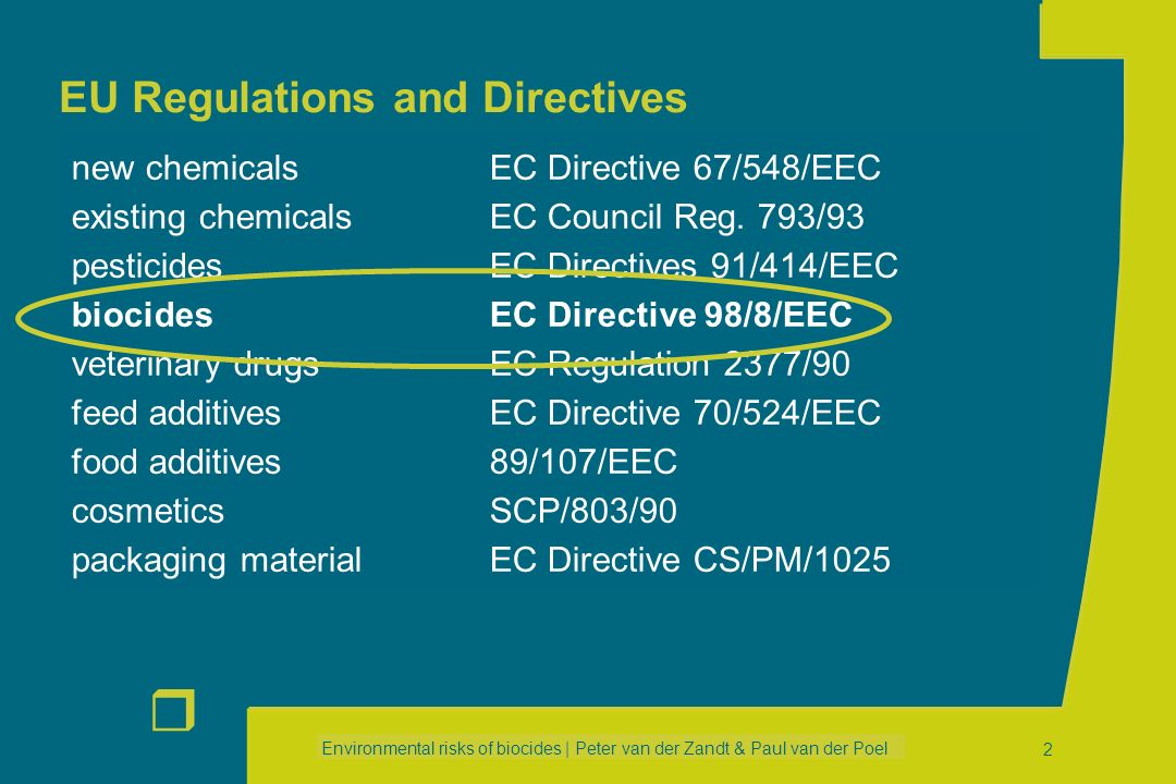 Environmental risks of biocides | Peter van der Zandt & Paul van der Poel r 42 ESDs for Main Group 1 (disinfectants) PT 01: Human hygiene biocidal products (RIVM, EUBEES2) PT 02: Private and public health area disinfectants –Medical equipment (EU) –Accomodation (RIVM) –Industrial areas –Swimming pools (RIVM) –Air-conditioning –Chemical toilets –Wastewater treatment (RIVM) –Hospital waste