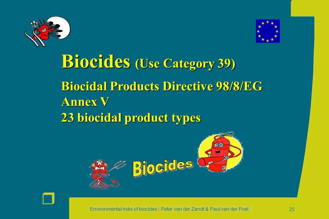 Environmental risks of biocides | Peter van der Zandt & Paul van der Poel r 24 New & Existing substances Biocides New & Existing substances Biocides A