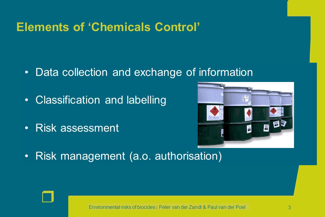 Environmental risks of biocides | Peter van der Zandt & Paul van der Poel r 33 Example 2 Example 2 Pt 3 : Veterinary Hygiene Biocidal Products 3.1Disinfection of animal housing 3.2Disinfection of footwear and animalsfeet 3.3Disinfection of milk extraction systems 3.4Disinfection of means of transport 3.5Disinfection of hatcheries 3.6Disinfection of fishfarms