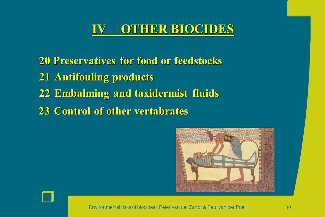 Environmental risks of biocides | Peter van der Zandt & Paul van der Poel r 29 14Rodenticides 15Avicides 16Molluscicides 17Piscicides 18Insecticides,