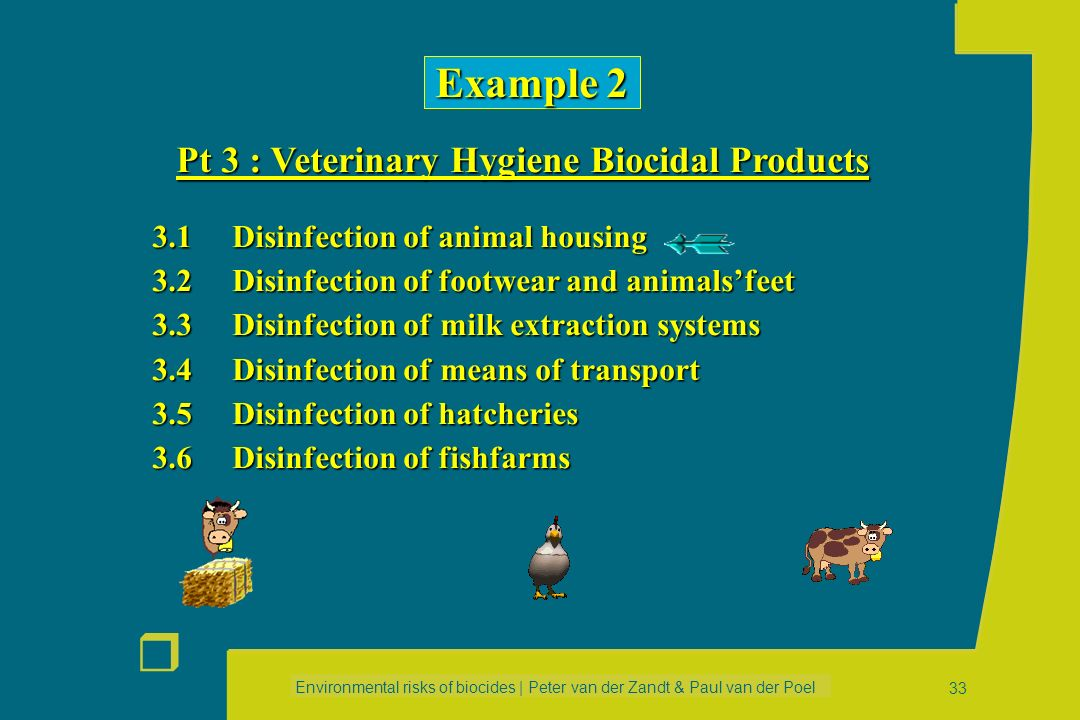 Environmental risks of biocides | Peter van der Zandt & Paul van der Poel r 32 Example 1 Pt 1 : Human Hygiene Biocidal Products Example 1 Pt 1 : Human