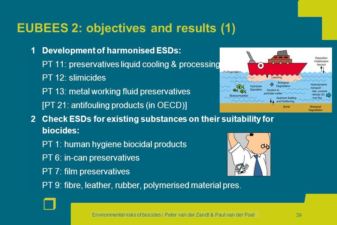 Environmental risks of biocides | Peter van der Zandt & Paul van der Poel r 38 EUBEES 1: Results (2) Emission scenario document for biocides used as p