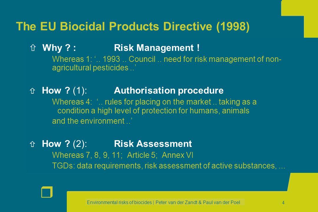 Environmental risks of biocides | Peter van der Zandt & Paul van der Poel r 34 PRODUCTION FORMULATION APPLICATION SERVICE LIFE WASTE Example 2 Disinfection of animal housing Example 2 Disinfection of animal housing