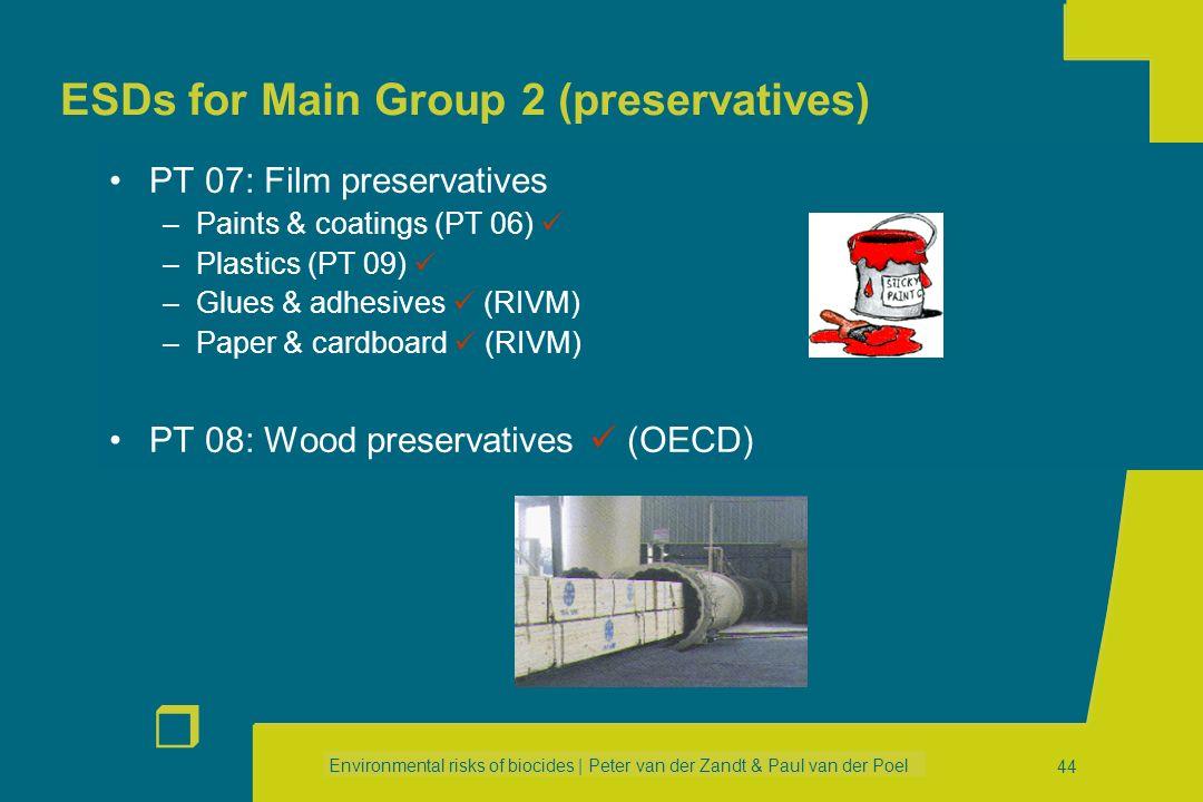 Environmental risks of biocides | Peter van der Zandt & Paul van der Poel r 43 ESDs for Main Group 1 (disinfectants) PT 03: Veterinary hygiene biocida