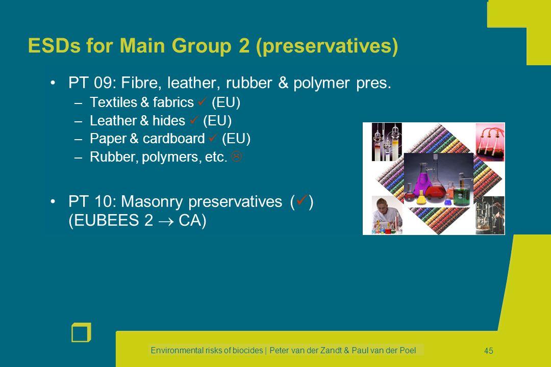 Environmental risks of biocides | Peter van der Zandt & Paul van der Poel r 44 ESDs for Main Group 2 (preservatives) PT 07: Film preservatives –Paints
