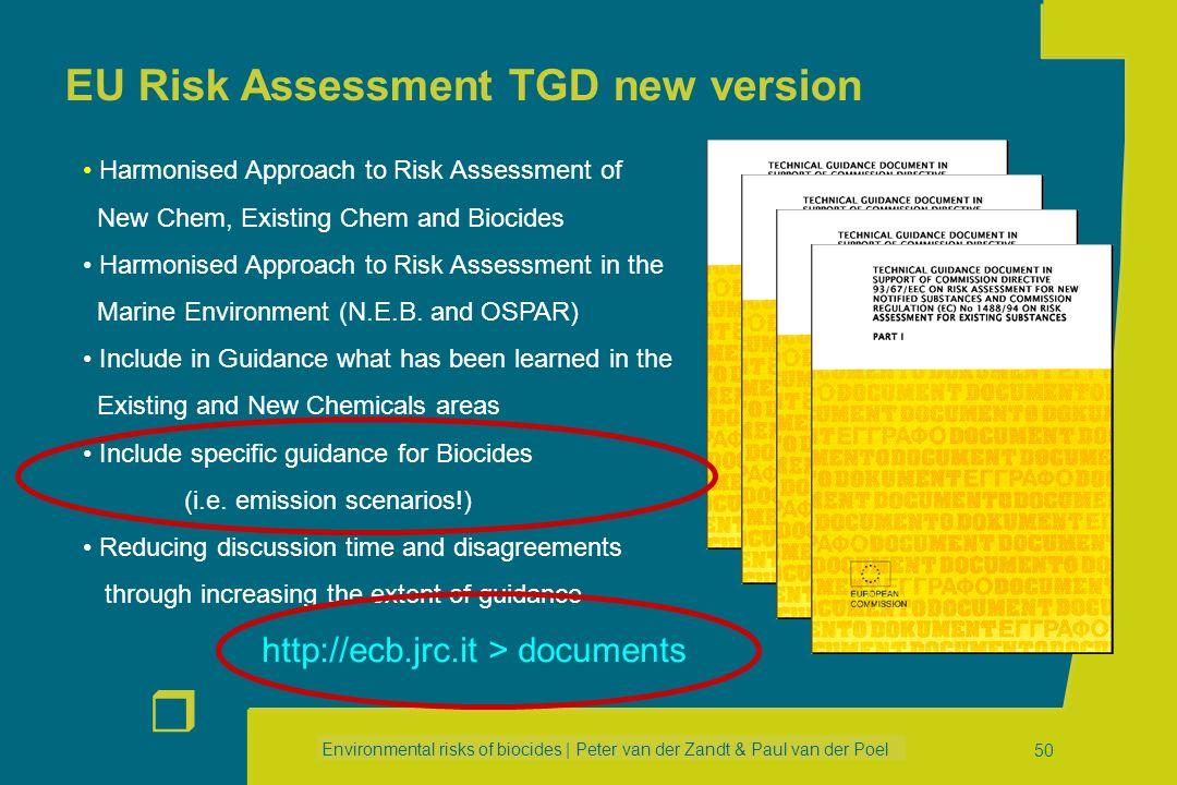 Environmental risks of biocides | Peter van der Zandt & Paul van der Poel r 49 ESDs for Main Group 4 (other products) PT 20: Preservatives for food &