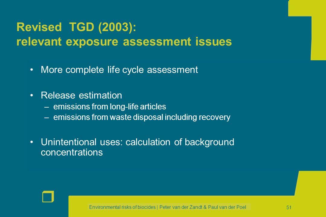 Environmental risks of biocides | Peter van der Zandt & Paul van der Poel r 50 EU Risk Assessment TGD new version Harmonised Approach to Risk Assessme