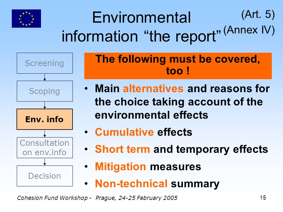 Cohesion Fund Workshop - Prague, 24-25 February 200515 Environmental information the report Main alternatives and reasons for the choice taking account of the environmental effects Cumulative effects Short term and temporary effects Mitigation measures Non-technical summary The following must be covered, too .