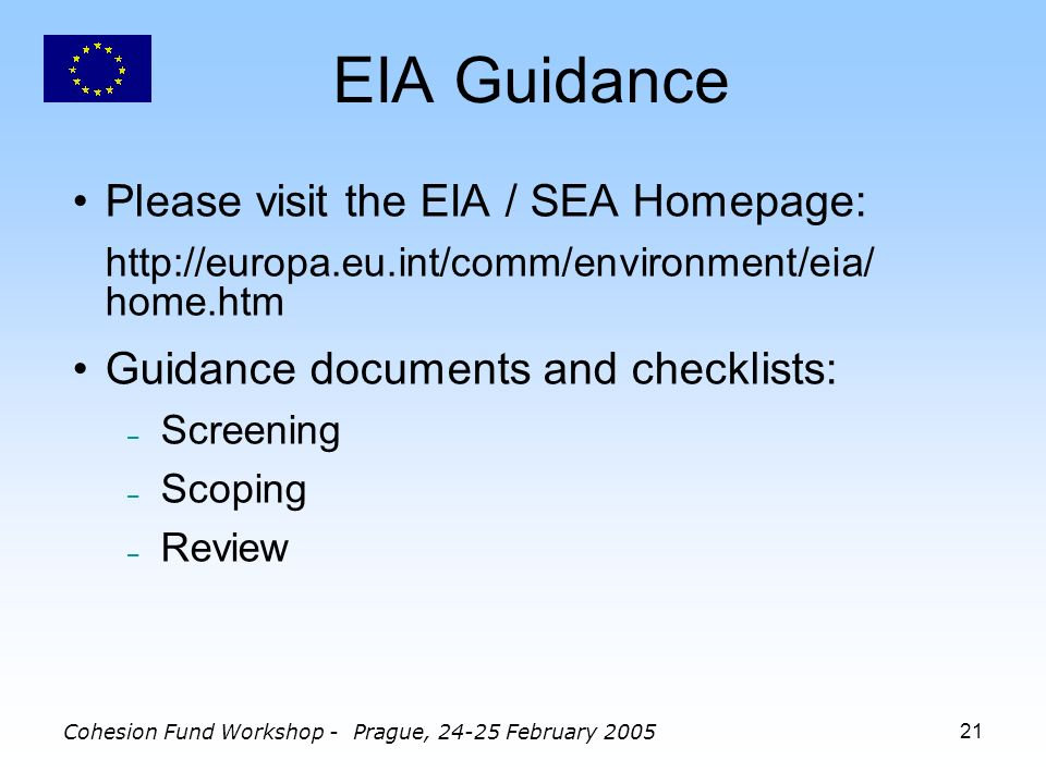 Cohesion Fund Workshop - Prague, 24-25 February 200521 EIA Guidance Please visit the EIA / SEA Homepage: http://europa.eu.int/comm/environment/eia/ home.htm Guidance documents and checklists: – Screening – Scoping – Review