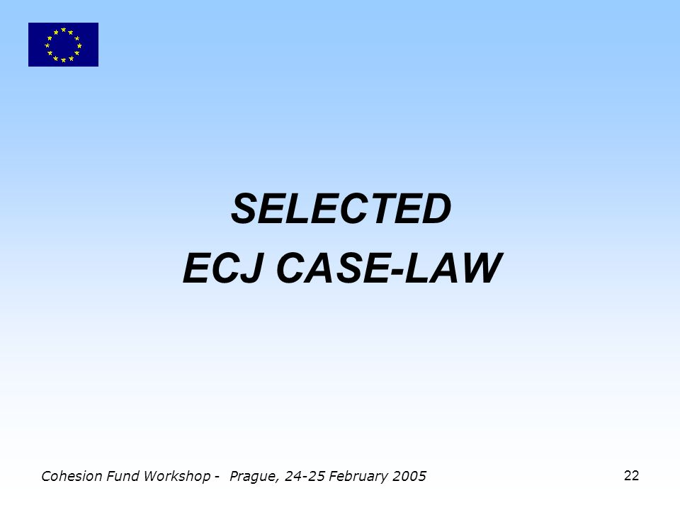 Cohesion Fund Workshop - Prague, 24-25 February 200522 SELECTED ECJ CASE-LAW