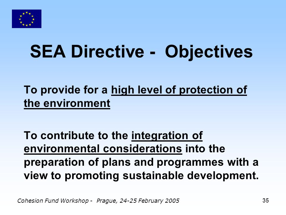 Cohesion Fund Workshop - Prague, February SEA Directive - Objectives To provide for a high level of protection of the environment To contribute to the integration of environmental considerations into the preparation of plans and programmes with a view to promoting sustainable development.