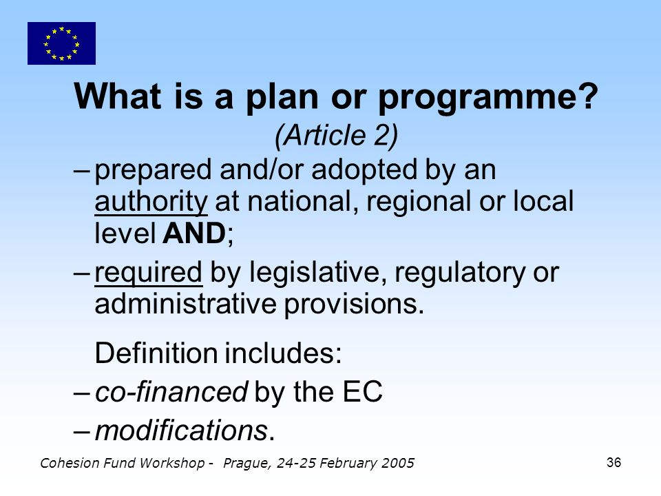 Cohesion Fund Workshop - Prague, 24-25 February 200536 What is a plan or programme.