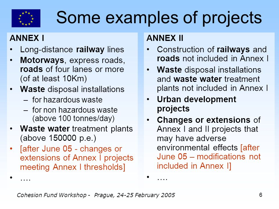 Cohesion Fund Workshop - Prague, February Some examples of projects ANNEX I Long-distance railway lines Motorways, express roads, roads of four lanes or more (of at least 10Km) Waste disposal installations –for hazardous waste –for non hazardous waste (above 100 tonnes/day) Waste water treatment plants (above p.e.) [after June 05 - changes or extensions of Annex I projects meeting Annex I thresholds] ….