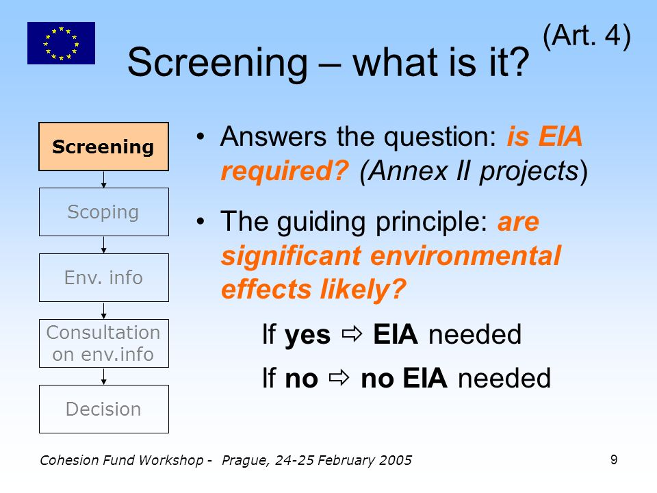 Cohesion Fund Workshop - Prague, 24-25 February 20059 Screening – what is it.