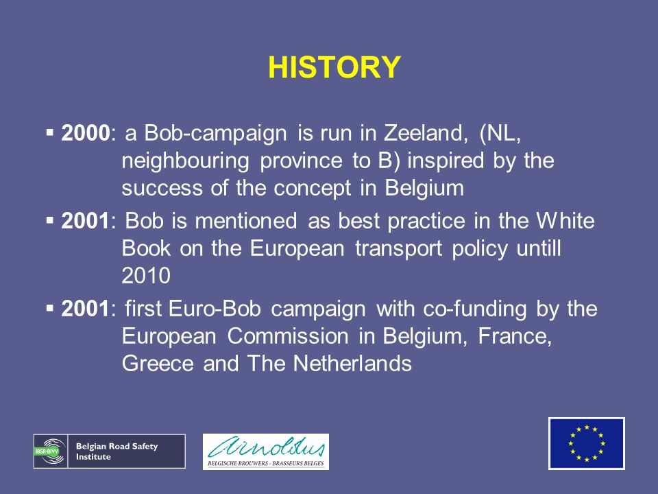 HISTORY 2000: a Bob-campaign is run in Zeeland, (NL, neighbouring province to B) inspired by the success of the concept in Belgium 2001: Bob is mentio