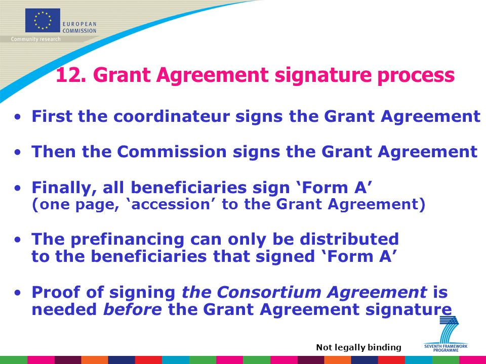 12. Grant Agreement signature process First the coordinateur signs the Grant Agreement Then the Commission signs the Grant Agreement Finally, all bene