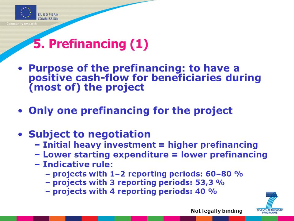 5. Prefinancing (1) Purpose of the prefinancing: to have a positive cash-flow for beneficiaries during (most of) the project Only one prefinancing for