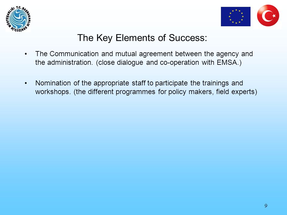 10 Main Challenges for the Cooperation 1.To achieve the objectives of the activities organized by EMSA was a challenge, the context of the programmes should be very well understood, the needs of the administration should be well analysed (GAP Analysis) effective coordination and cooperation between the directors of the technical divisions, participants, the focal point and the agency.