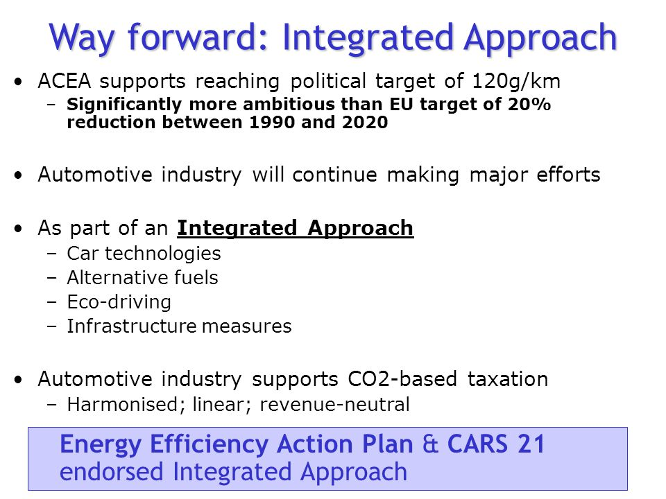 Benchmark Cost-effectiveness ECCP: car technology is high-cost measure Cost-effectiveness means reaching environmental targets at lowest cost to society