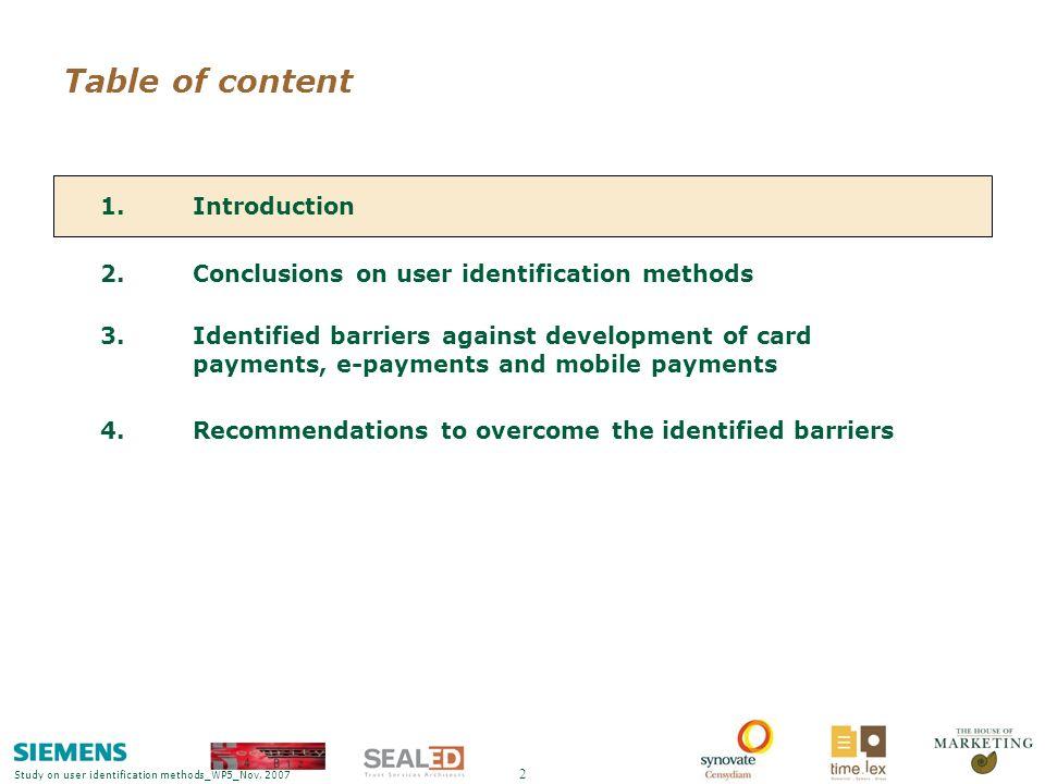 Study on user identification methods_WP5_Nov. 2007 Back-ups